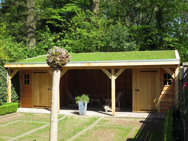 houten tuinhuis met groendak