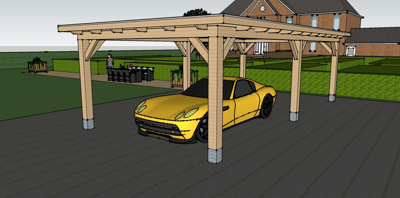 eiken houten carport