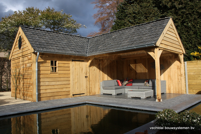eiken houten poolhouse