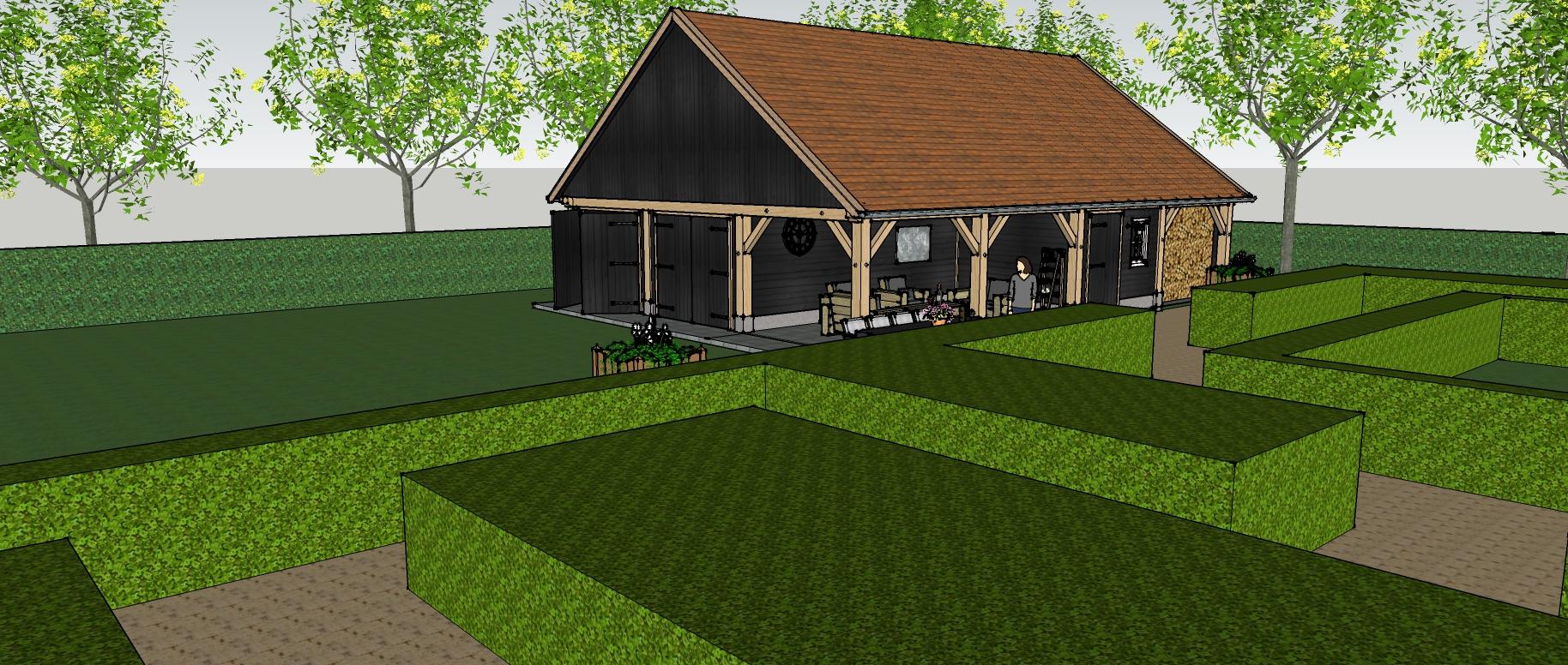 Ontwerp_klassiek_eiken_houten_schuur - Ontwerp: Eikenhouten kapschuur met garage, overkapping en berging.