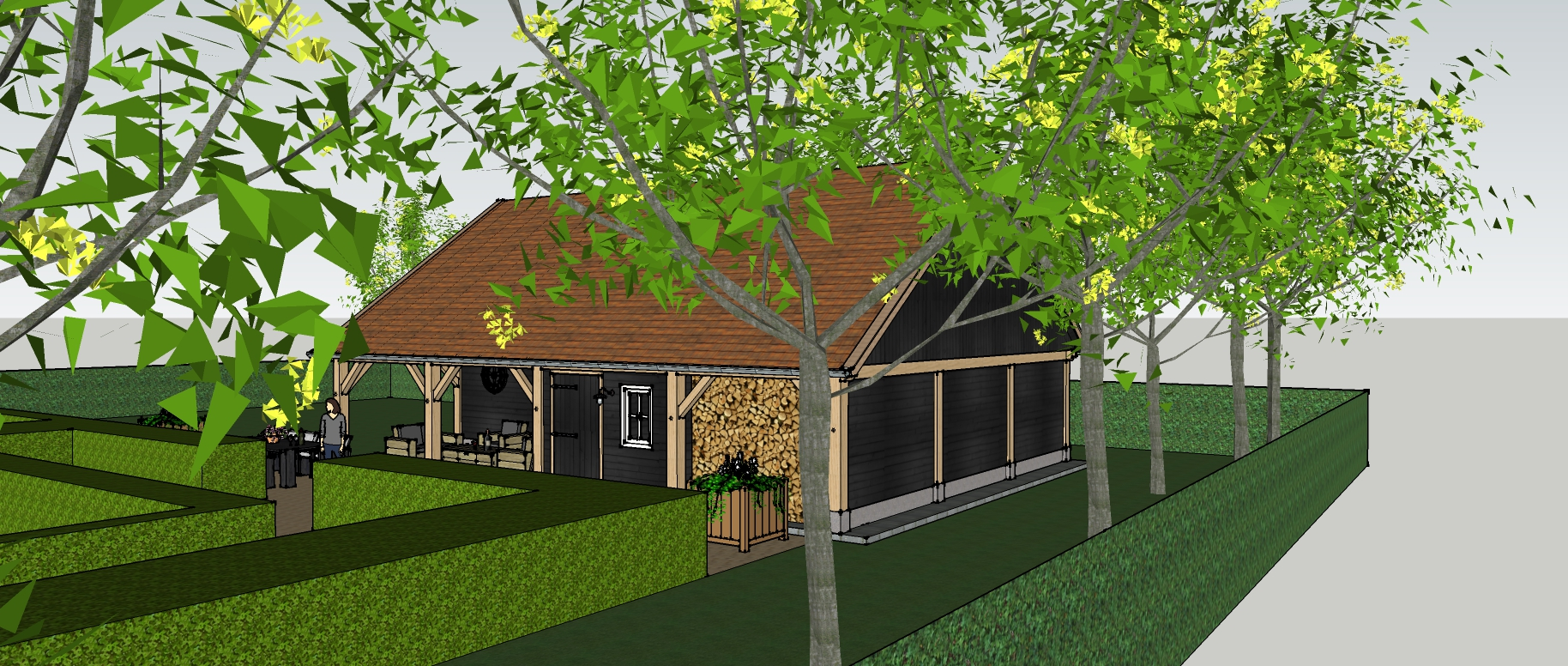 Ontwerp_klassiek_eiken_houten_schuur_1 - Ontwerp: Eikenhouten kapschuur met garage, overkapping en berging.
