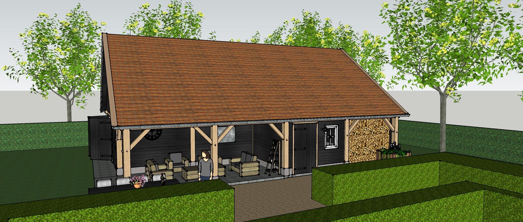Ontwerp_klassiek_eiken_houten_schuur_2 - Ontwerp: Eikenhouten kapschuur met garage, overkapping en berging.