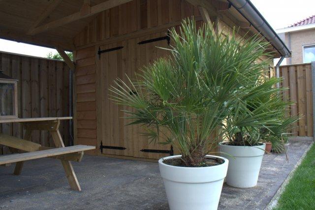 robuuste_tuinhuizen - Eiken garage met carport. Maatwerk!