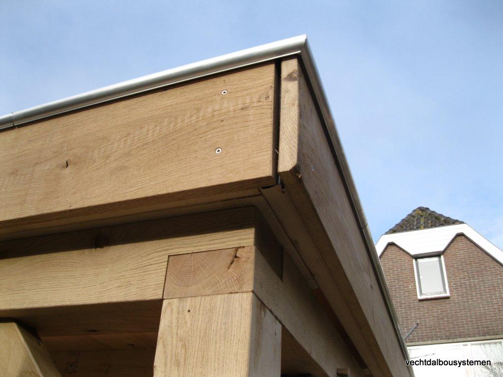 Tuinhuis_met_platdak_(2) - Houten tuinhuis met luifel opgeleverd in Woerden.