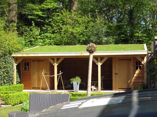 1_houten_tuinhuis_met_groendak - Subsidie op groendak. Bijgebouwen/tuinhuizen/overkappingen of landelijke schuren.
