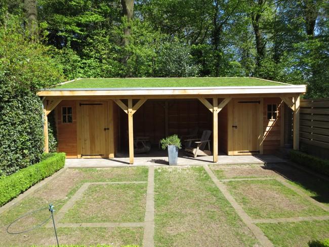 2_houten_tuinhuis_met_groendak - Subsidie op groendak. Bijgebouwen/tuinhuizen/overkappingen of landelijke schuren.