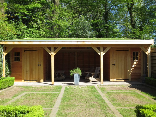 4_houten_tuinhuis_met_groendak - Subsidie op groendak. Bijgebouwen/tuinhuizen/overkappingen of landelijke schuren.