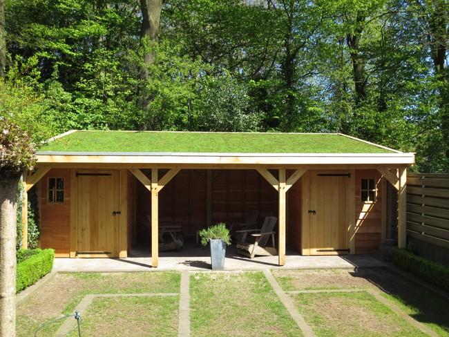 5_houten_tuinhuis_met_groendak - Subsidie op groendak. Bijgebouwen/tuinhuizen/overkappingen of landelijke schuren.