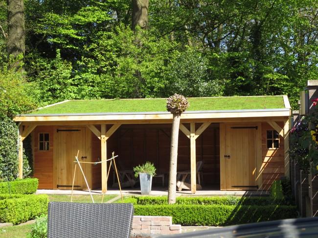 8_houten_tuinhuis_met_groendak - Subsidie op groendak. Bijgebouwen/tuinhuizen/overkappingen of landelijke schuren.