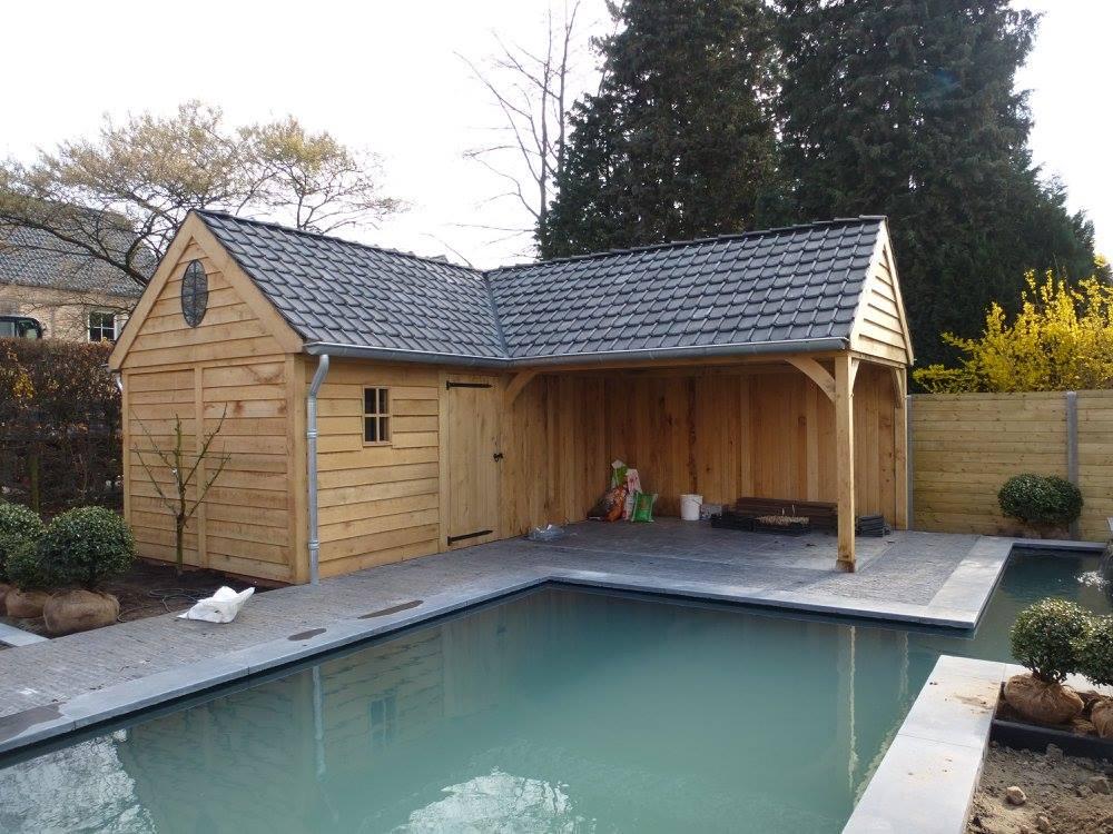 eiken_terrasoverkapping_met_poolhouse_(2) - Exclusief eikenhouten bijgebouw opgeleverd in Balen.