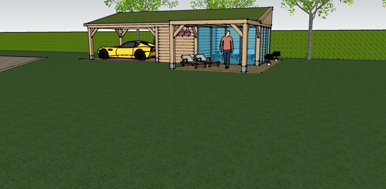 eiken_bijgebouw_met_wellness - Ontwerp: Eikenhouten bijgebouw met carport en berging. Voorzien van wellness, sauna en stoomcabine. Plaats Wassenaar