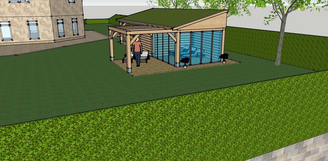 eiken_bijgebouw_met_wellness_1 - Ontwerp: Eikenhouten bijgebouw met carport en berging. Voorzien van wellness, sauna en stoomcabine. Plaats Wassenaar