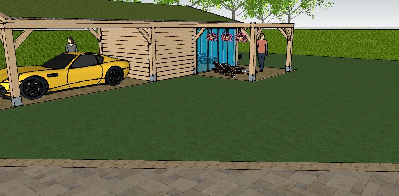 eiken_bijgebouw_met_wellness_2 - Ontwerp: Eikenhouten bijgebouw met carport en berging. Voorzien van wellness, sauna en stoomcabine. Plaats Wassenaar