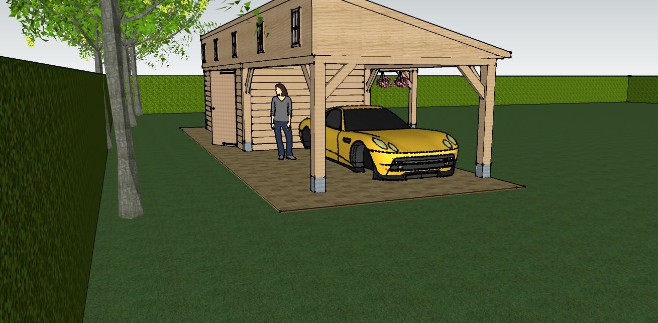 eiken_bijgebouw_met_wellness_3 - Ontwerp: Eikenhouten bijgebouw met carport en berging. Voorzien van wellness, sauna en stoomcabine. Plaats Wassenaar