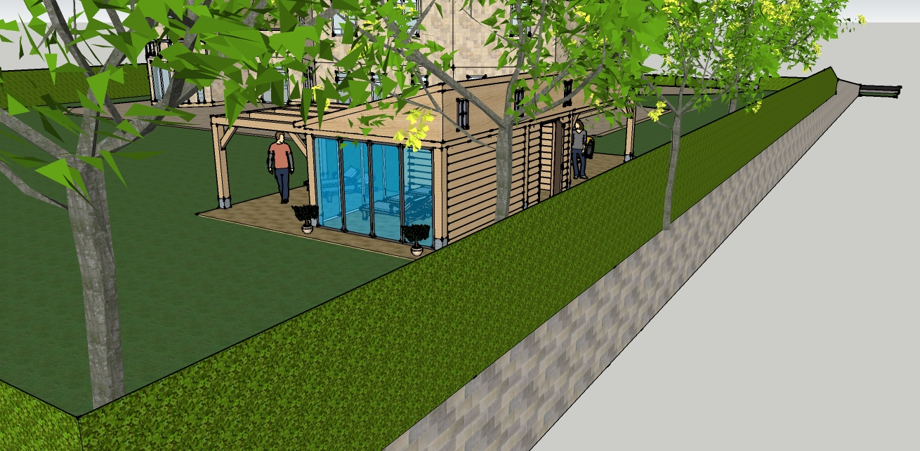 eiken_bijgebouw_met_wellness_4 - Ontwerp: Eikenhouten bijgebouw met carport en berging. Voorzien van wellness, sauna en stoomcabine. Plaats Wassenaar