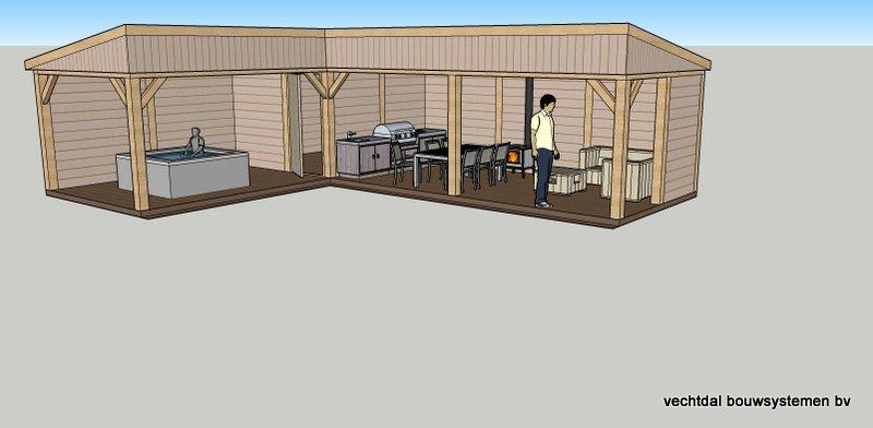 Ontwerp eikenhouten bijgebouw met overkapping voor jacuzzi veranda met buitenkeuken en - Ontwerp tuinhuis ...