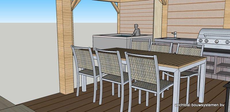 5-Hoek_tuinhuis_met_veranda_voorzien_van_zonnepanelen_(5) - Ontwerp: Eikenhouten bijgebouw, met overkapping voor jacuzzi, veranda met buitenkeuken en berging met Sauna. Plaats Rotterdam.