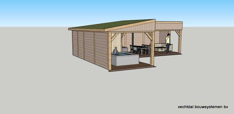 6-Hoek_tuinhuis_met_veranda_voorzien_van_zonnepanelen_(6) - Ontwerp: Eikenhouten bijgebouw, met overkapping voor jacuzzi, veranda met buitenkeuken en berging met Sauna. Plaats Rotterdam.