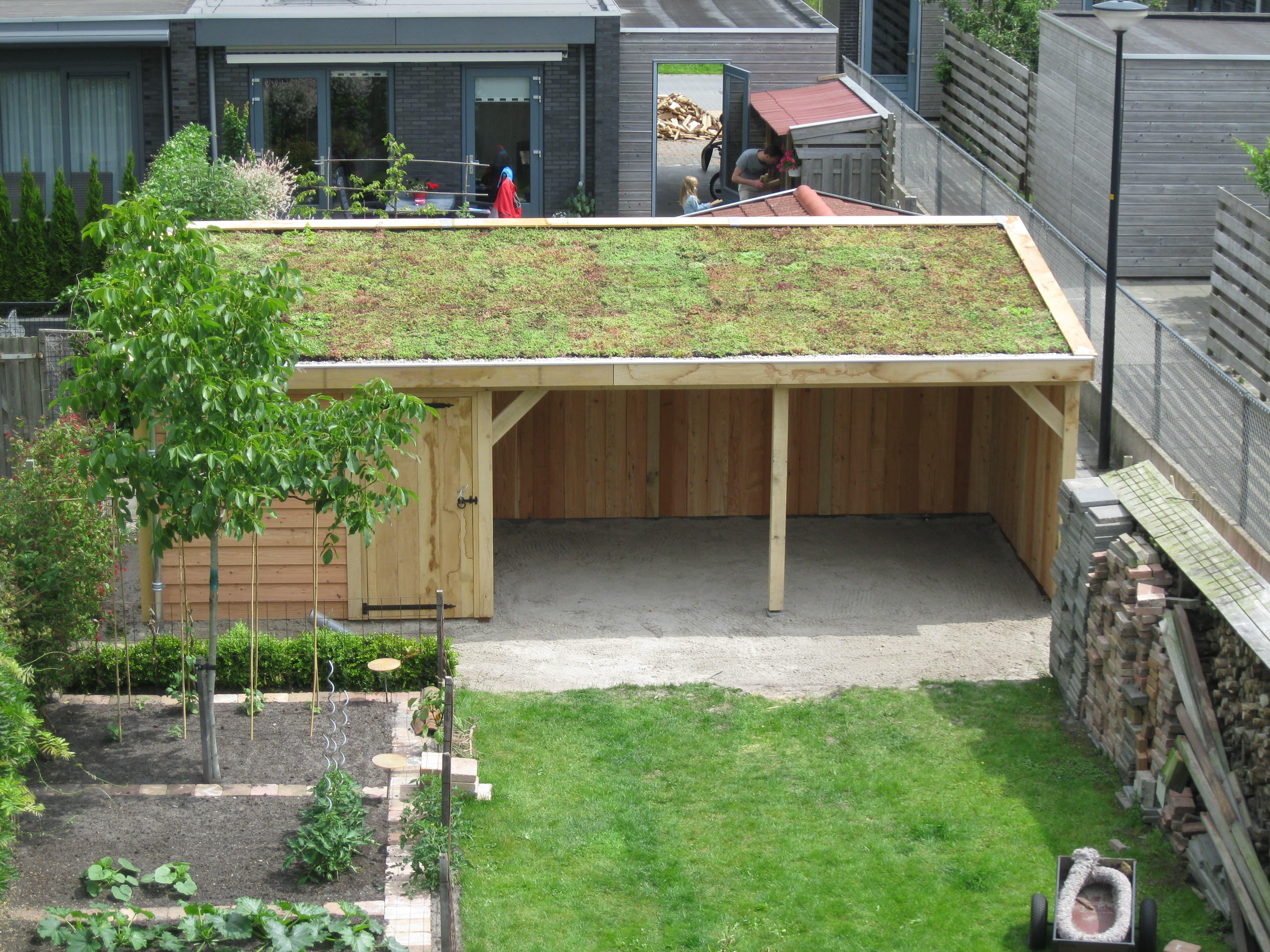 Houten-tuinhuis-met-tuinkamer-groendak-2-min - Tuinhuis met Groendak
