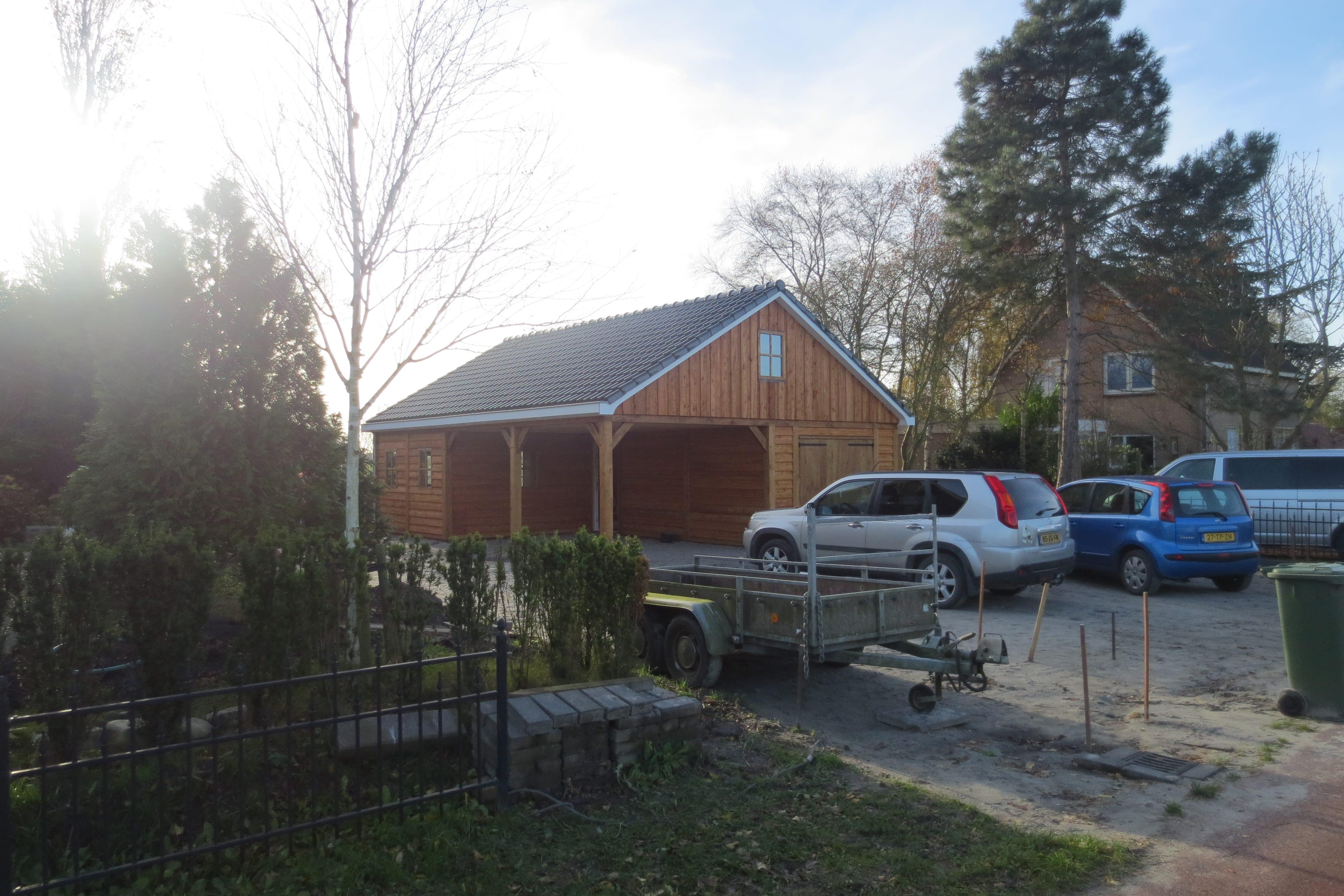 houten-garage-met-carport-11 - Project Enkhuizen: Houten garage met carport