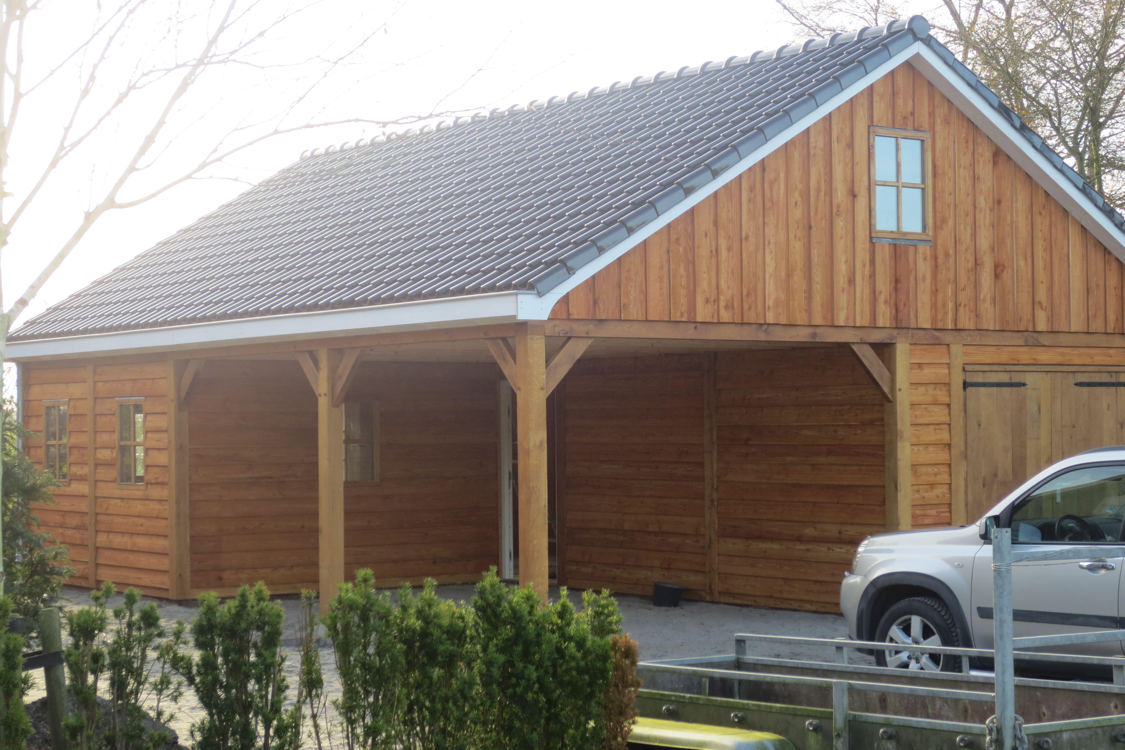 Garage Met Carport : Houten garage met carport vechtdalbouwsystemen