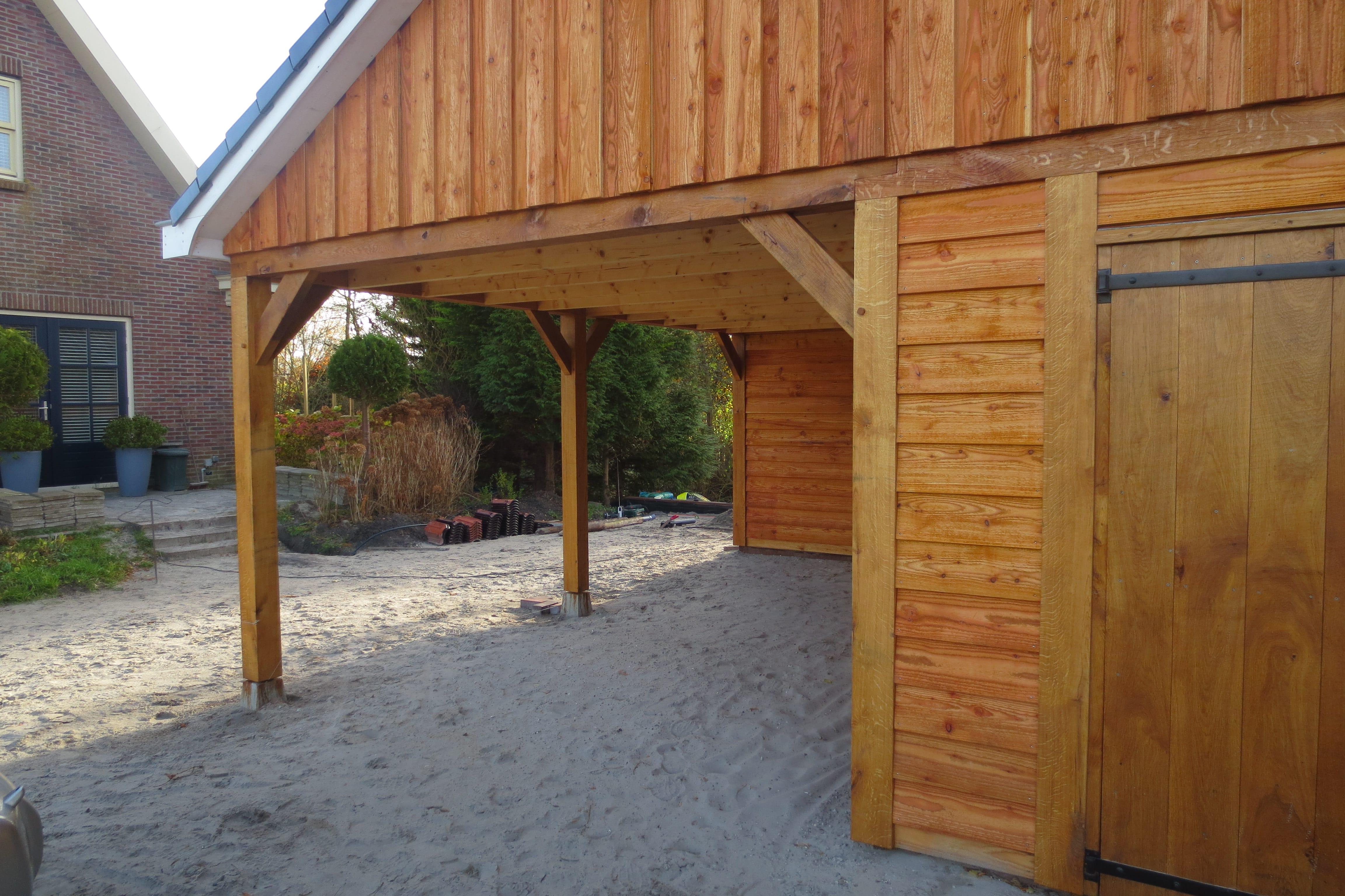 houten-garage-met-carport-2 - Project Enkhuizen: Houten garage met carport