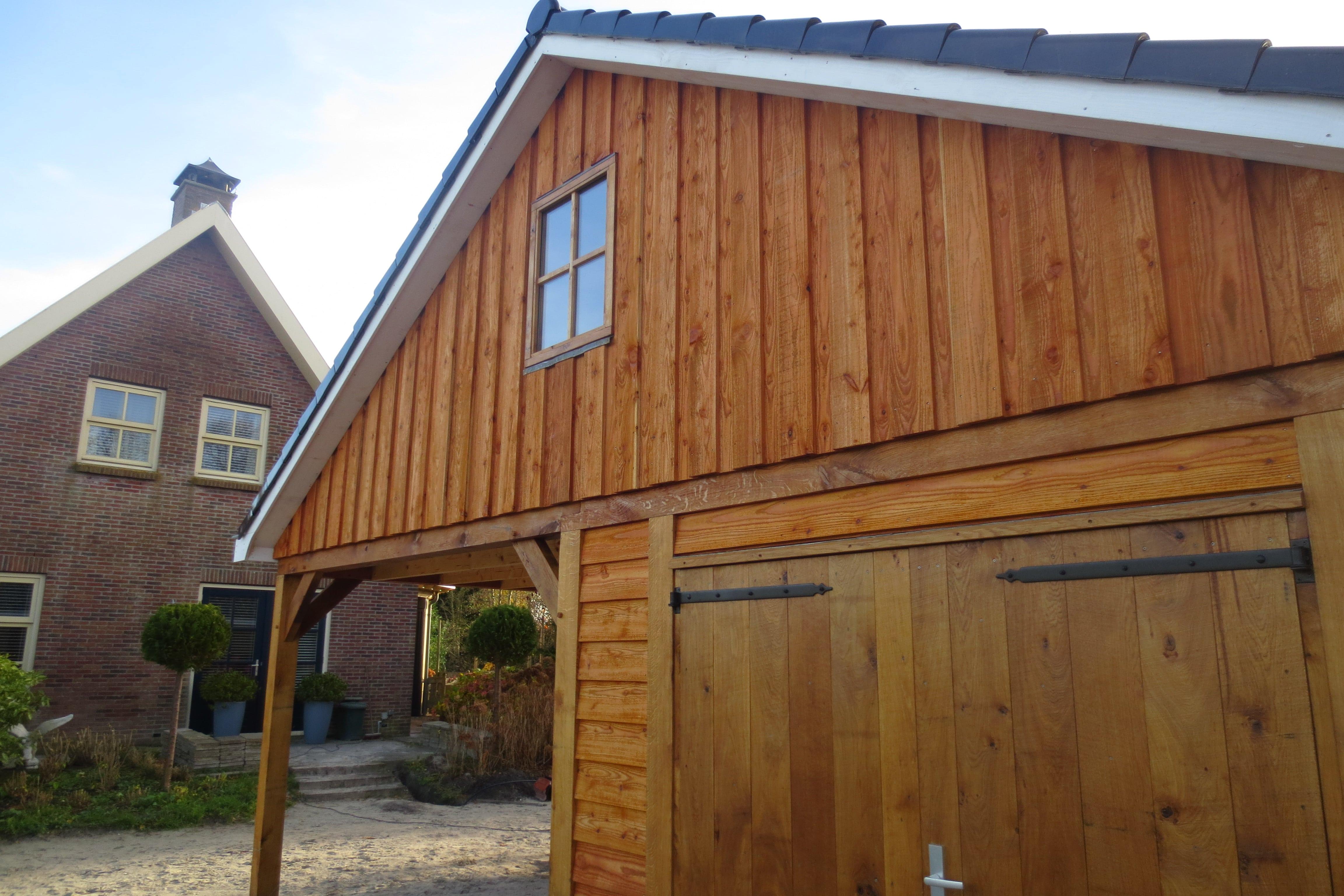 houten-garage-met-carport-5 - Project Enkhuizen: Houten garage met carport