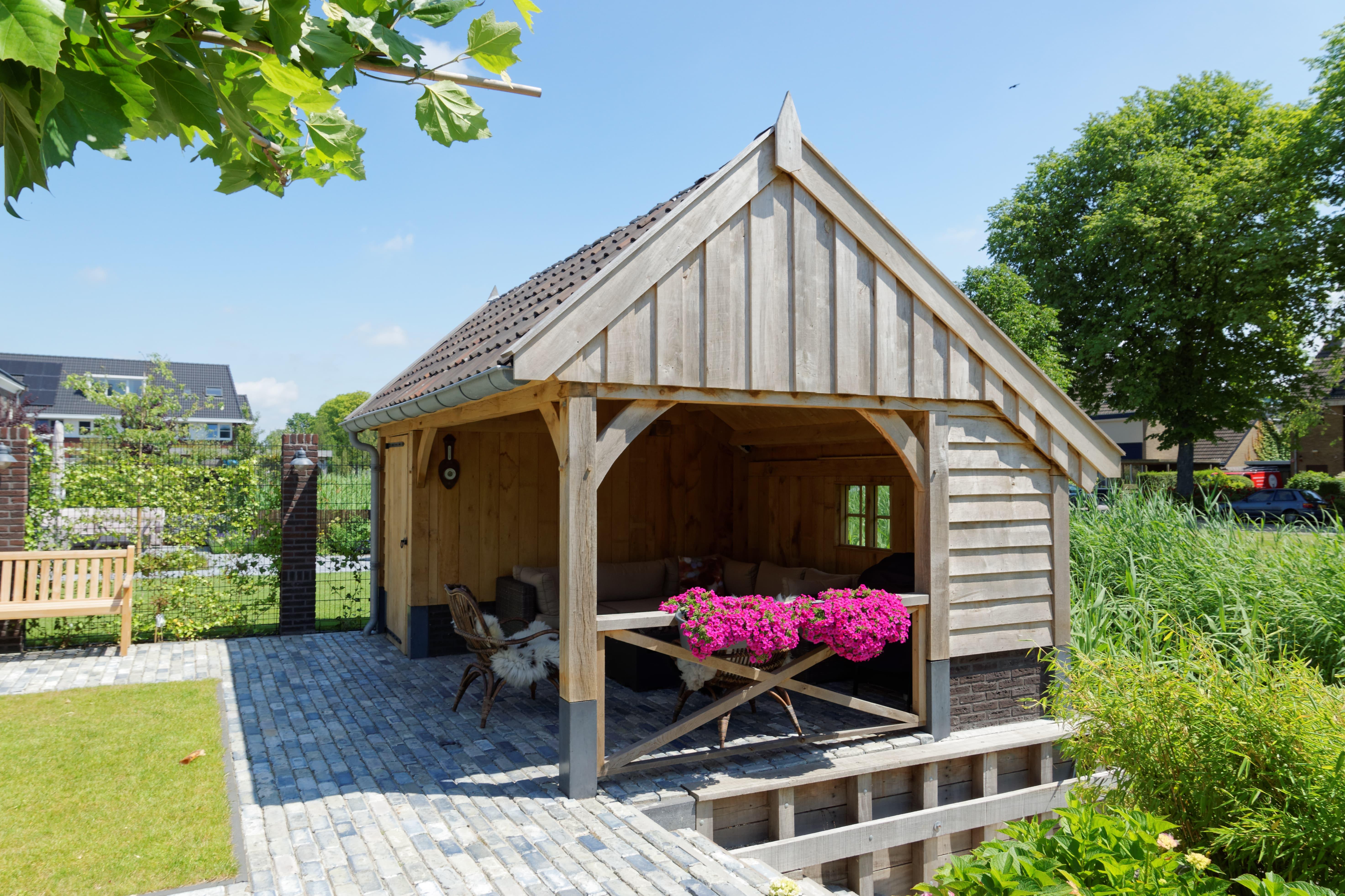 houten-kapschuur-met-tuinkamer-4-min - Project: Maassluis