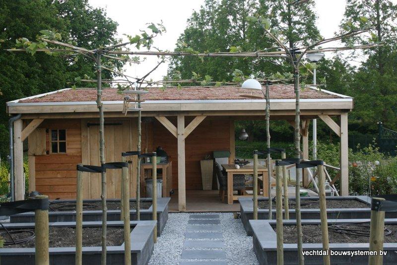 houten-tuinhuis-met-groendak-6 - Project Coevorden: Tuinhuis met Groendak