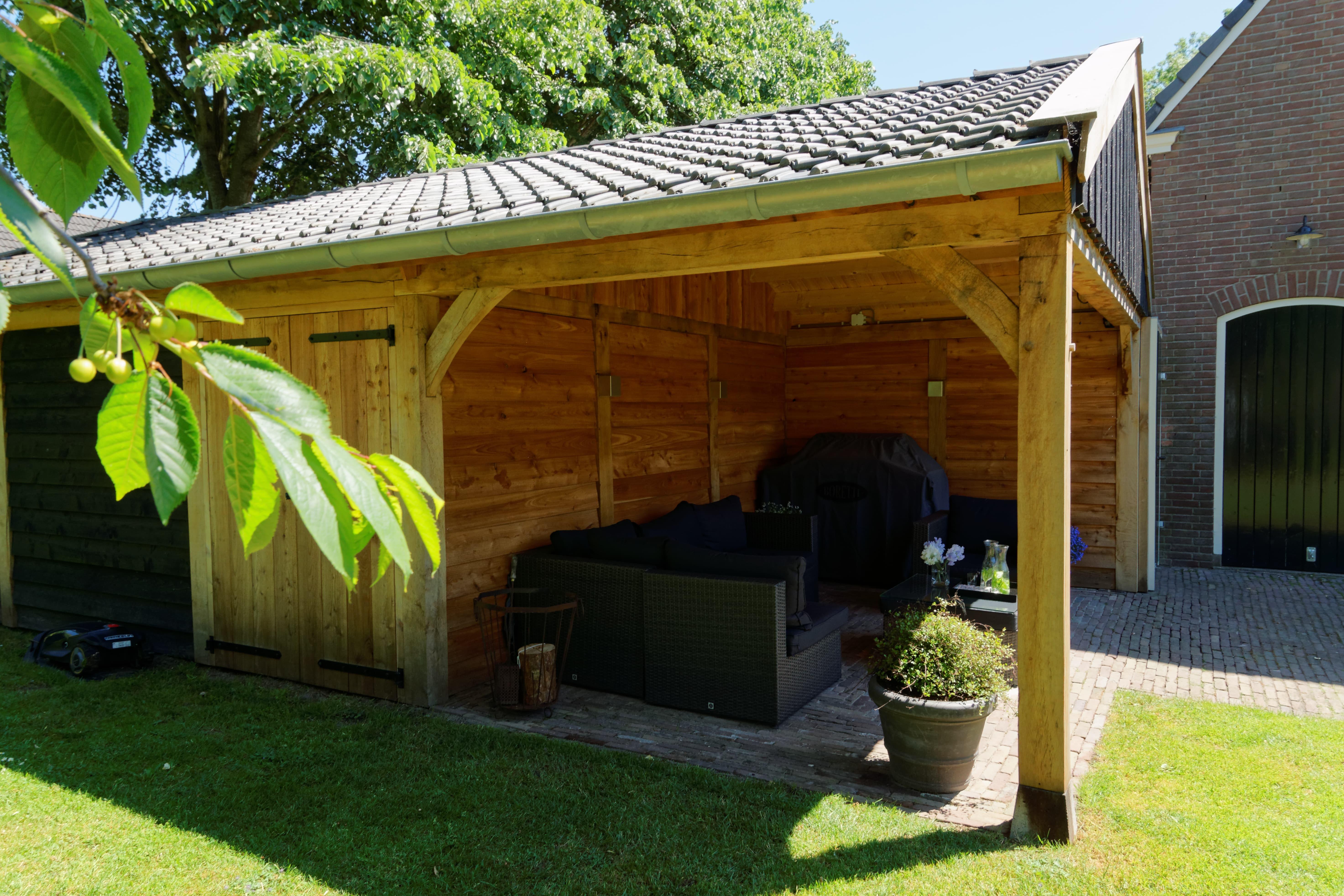 houten-kapschuur-met-overkapping-2 - Project: Meppel houten kapschuur met carport