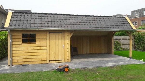 houten-kapschuur-met-veranda-4-600x338 - Houten kapschuur met veranda