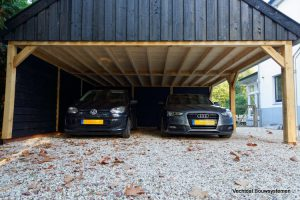 landelijke-schuur-met-carport-7-300x200 - Klassiek Houten kapschuur met carport.