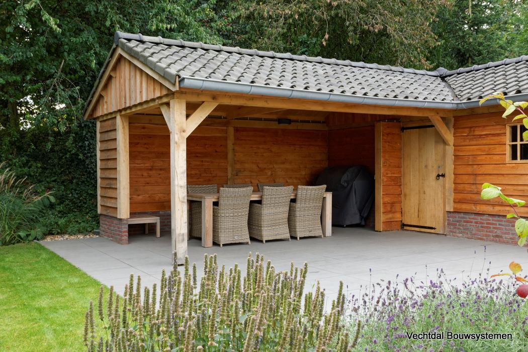 project groesbeek: houten tuinhuis met overkapping hoekmodel