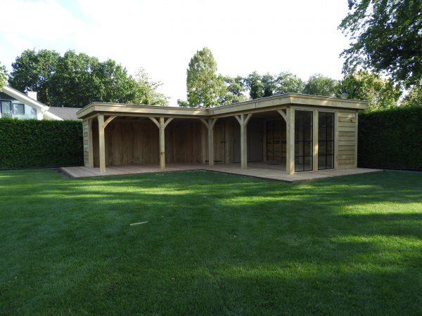 eikenhouten-bijgebouw-met-tuinkamer-en-jacuzi-overkapping-600x450 - Bijgebouw met tuinkamer en jacuzzi overkapping.