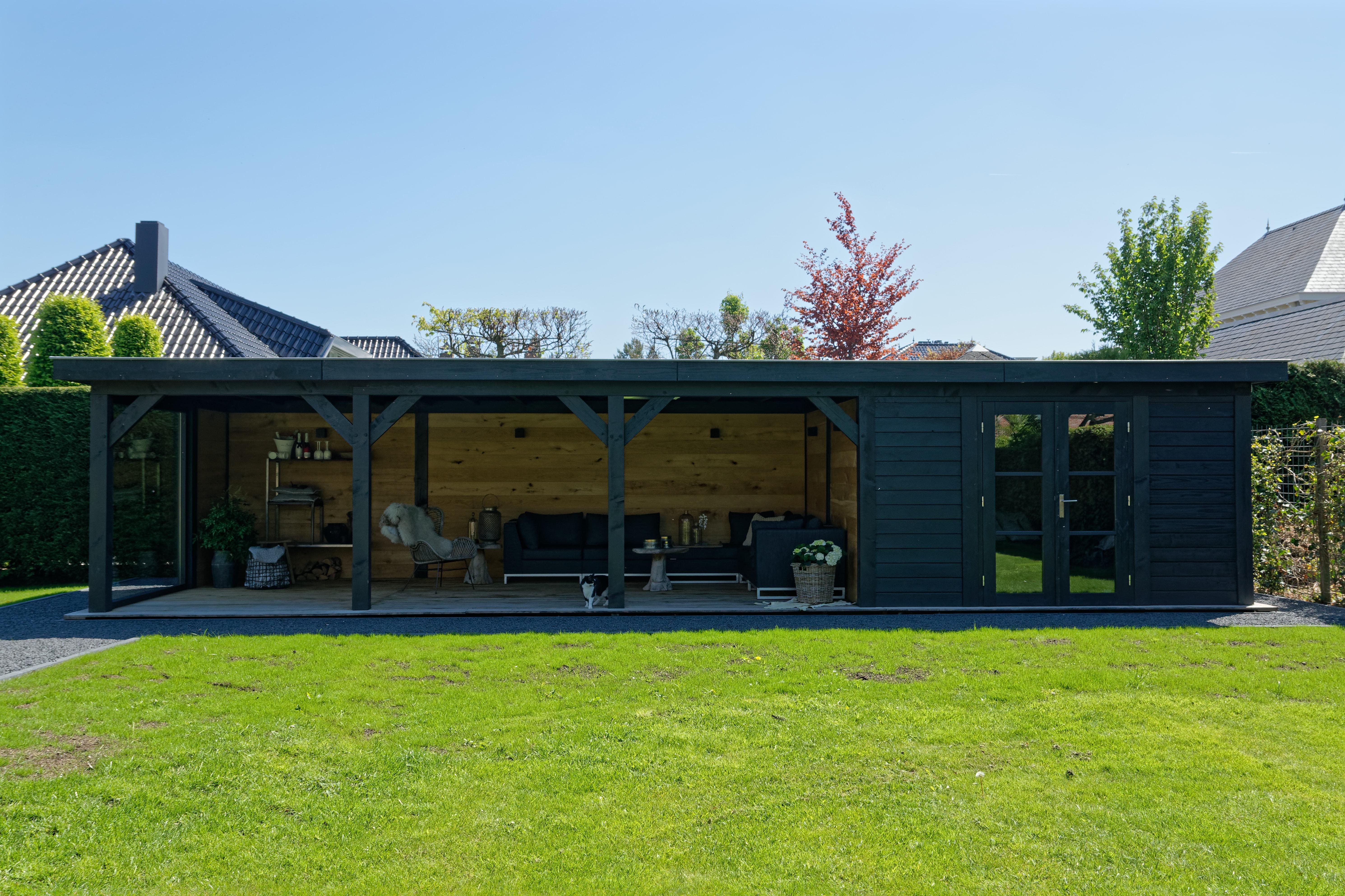 houten-tuinkamer-11 - Project Bleiswijk: Luxe tuinhuis met tuinkamer platdak.
