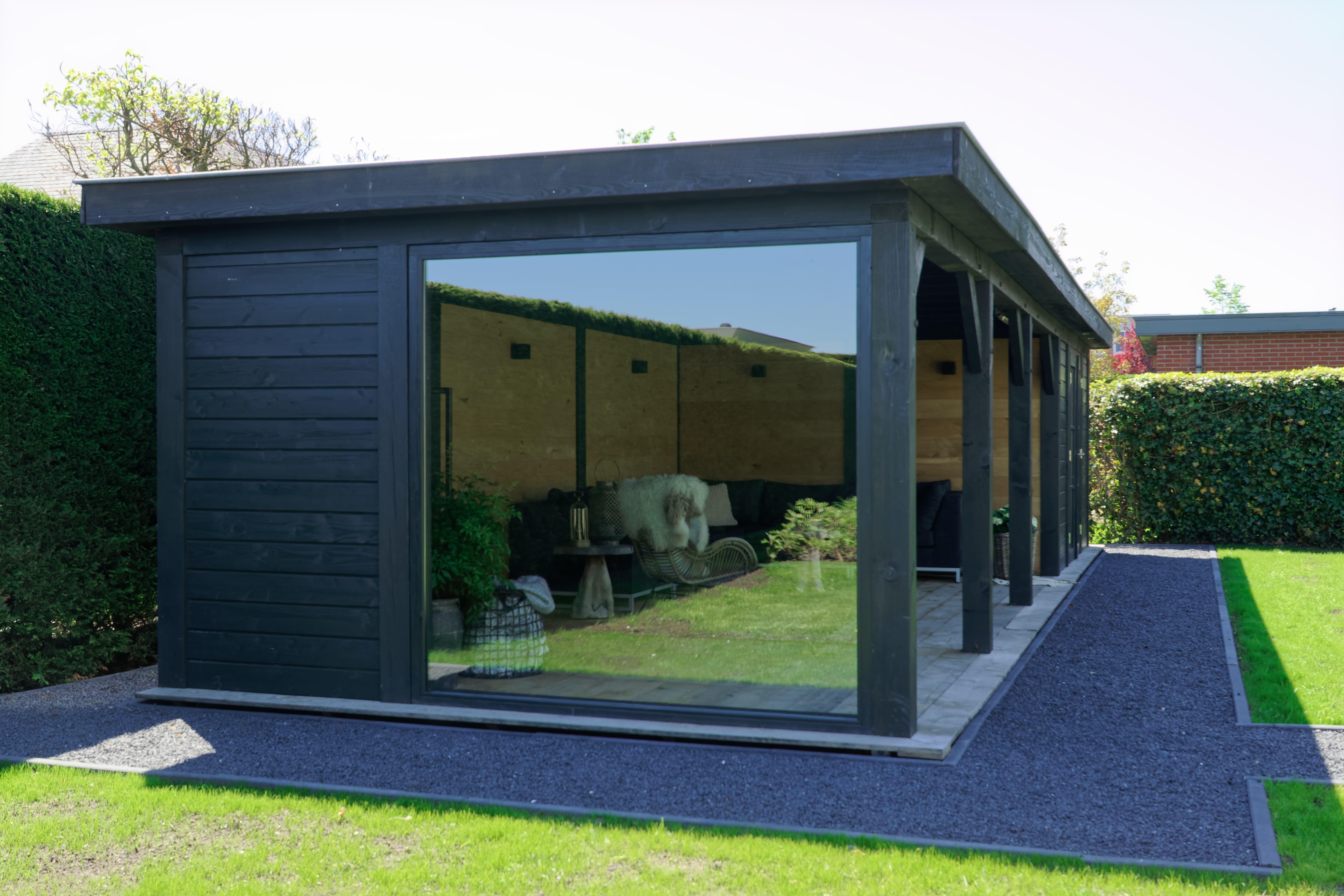 houten-tuinkamer-2 - Project Bleiswijk: Luxe tuinhuis met tuinkamer platdak.