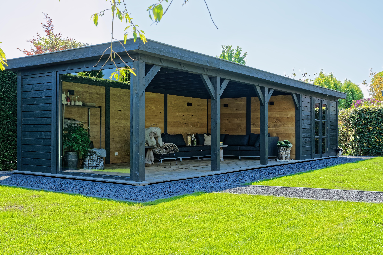 houten-tuinkamer - Project Bleiswijk: Luxe tuinhuis met tuinkamer platdak.